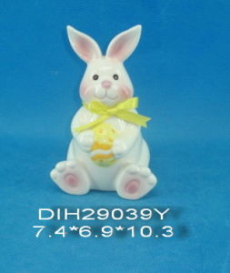 Hand-Painted Ceramic Rabbit with Ribbon Decoration pictures & photos