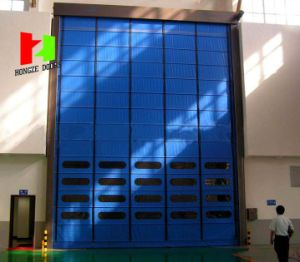 Hot Sale Automatic Stacking Folding up Frameless Bi-Fold Industrial Stacking Door (Hz-FC0112) pictures & photos