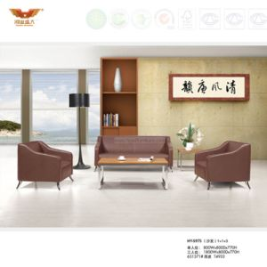 Modern Design Office Leather Sofa Covered with Metal Leg (HY-S975) pictures & photos