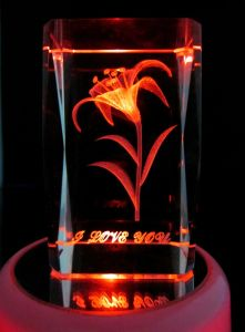 D Laser Orchid Crystal Cube with Light Base (JC4372CL)