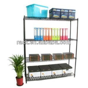 DIY Adjustable 4 Shelf Black Coated Metal Office Wire Storage Rack Shelf Unit for Sale pictures & photos