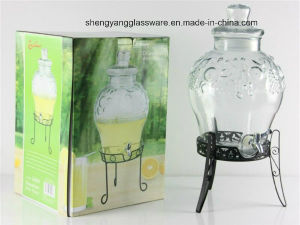 Large Glass Juice Jar/Glass Beverage Dispenser with Lid and Stand, Tap pictures & photos