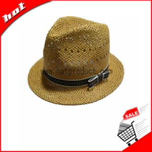 Khaki Paper Straw Fedora Panama Hat pictures & photos