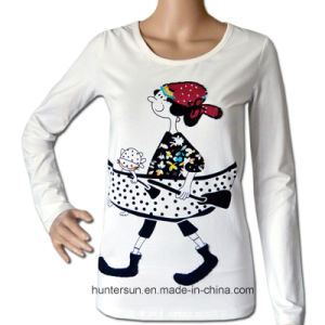 Women Lovely Girl Printed and Embroidered T-Shirt (HT7042)