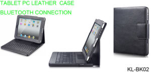 Bluetooth Keyboard Leather Case for iPad 2 - (KL-BK02) pictures & photos
