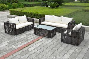 Outdoor Furniture, PE Rattan& Aluminum Frame Thick Round Rattan Sofa