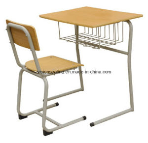 Educational Wooden Single Student Desk and Chair (7501) pictures & photos