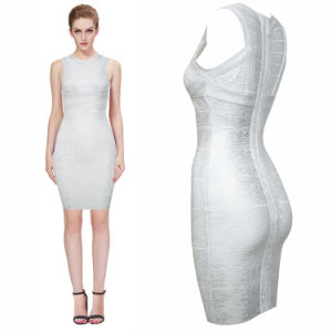 Silver Stamping Black Bandage Bodycon High-Grade Dubutantes Auto Show Party Dresses pictures & photos