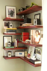 Corner Bookshelf for Livingroom Furniture in Wooden pictures & photos