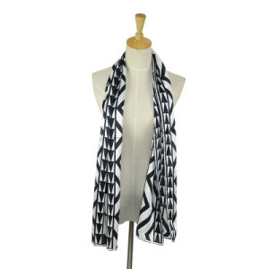 Lady Pure Silk Long Satin Printed Scarf