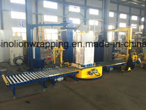Full Auto Turntable Stretch Film Wrapping Machine with Roller Conveyor pictures & photos