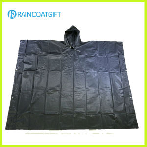 Emergency Black PEVA Rain Poncho Rpe-011 pictures & photos