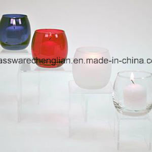 Clear and Color-Sprayed Glass Optic Candle Holders (ZT-084) pictures & photos