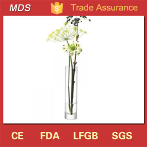 Cheap Narrow-Necked Handmade Glass Column Flower Vase Glass pictures & photos