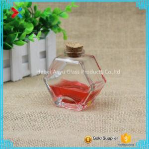 90ml 3oz Oblate Hexagon Glass Honey Jar Mason Jar with Cork