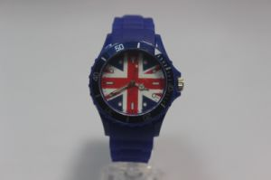 Silica Gel British Style Simple Fashion Rice Flag Watch pictures & photos