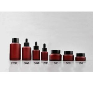 Amber Glass Bottle Jar Set for Cosmetic Packaging pictures & photos