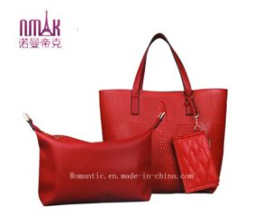 Crocodiel Pattern Tote Bags with Interior Bag and Pandant Complex Bag (F53) pictures & photos