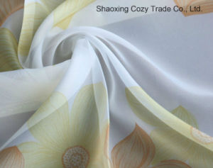 Flower Style Voile Printing Curtain Fabric pictures & photos