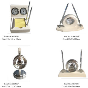 Pen Stand with Quartz White Wood Table Clock pictures & photos
