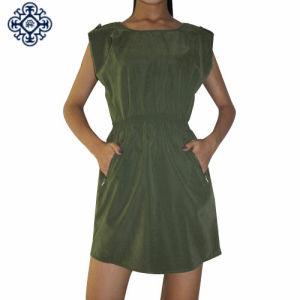 Ladies Short Sleeve Dress with Smocking Waistband (LDS-12)