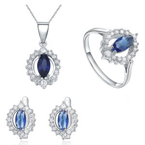 Blue Topaz Micro Setting 925 Silver Jewelry Set Wholesales pictures & photos