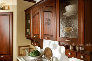 Dark Wood Color Modular Customized Design Solid Wood Kitchen Cupboards pictures & photos