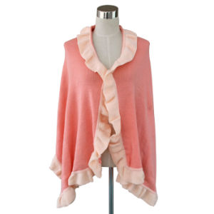 Lady Fashion Acrylic Knitted Ruffle Trim Scarf Shawl (YKY4158B-1) pictures & photos