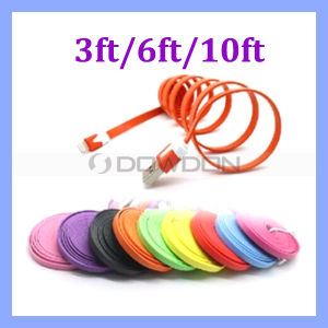 1m/2m/3m Noodle Flat USB Data Charger Lightning Cable for iPhone 6 5 5s 5c 10 Colors pictures & photos