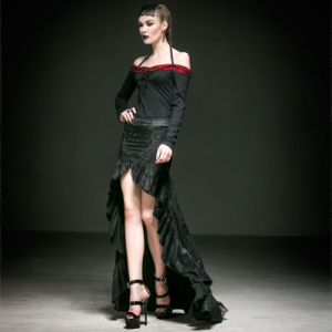 Punk Knitted Womens Gothic Asymmetrical Skirt (Q-238) pictures & photos