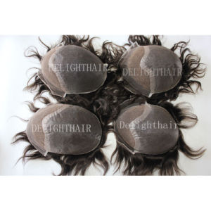 Top Quality Human Hair Full Swiss Lace Men′s Toupee Nhte-005
