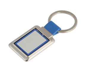 Promotion Blue Rectangle Key Ring Metal Keyring with Plastic (F1056B) pictures & photos
