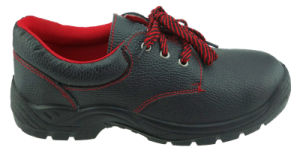Black Leather Rubber Safety Shoes pictures & photos