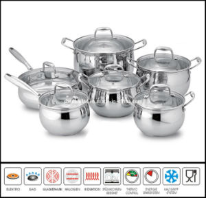 12 PCS Stainless Steel Belly Shape Cookware Set pictures & photos