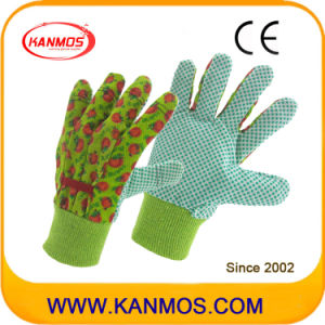 Printed-Flower Drill Cotton Fabric Garden Industrial Safety Work Gloves (41006)