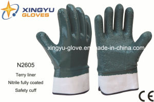 Terry Liner Nitrile Coated Safety Work Glove (N2605) pictures & photos
