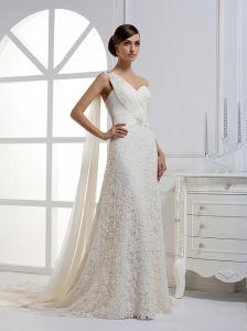 No Risk Shopping a Line One Shoulder Court Alencon Lace Chiffon Wedding Dresses