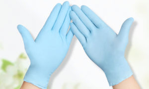 Competitive Price Blue Color Powdered Vinyl Gloves for Electronics Industry pictures & photos