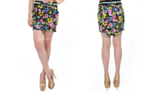 Ladies Flower Printed Colorful Short Skirt with a Small Tail