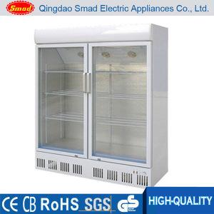 708L Large Supermarket Upright Double Glass Door Showcase pictures & photos