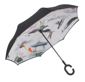 Windproof Reverse Umbrella Inverted Chuva C-Hook Umbrella, Umbrella with C Handle pictures & photos
