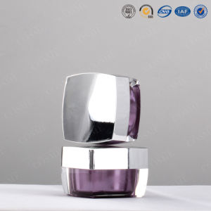 Silver Gold Square High Quality Plastic Acrylic Cosmetic Packaging Cream Jar for Luxury Cosmetics pictures & photos