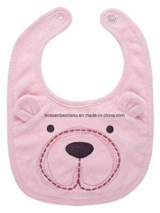 Custom Made Cotton Terry Promotional Embroidered Infant Babywear Animal Drooler Bib pictures & photos