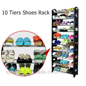 10 Tiers Shoes Stackable Knocked Down Shoe Rack pictures & photos