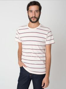 2014 China Manufacture Fashion Cheapest Round Neck Striped 100%Cotton Jersey Men′s T-Shirt pictures & photos
