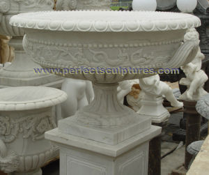 Stone Marble Flowerpot for Garden Ornament (QFP332) pictures & photos