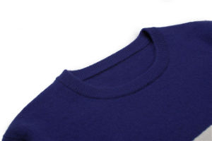 100%Cashmere Rib Knit Round Neck Intarsia Men Knitwear pictures & photos