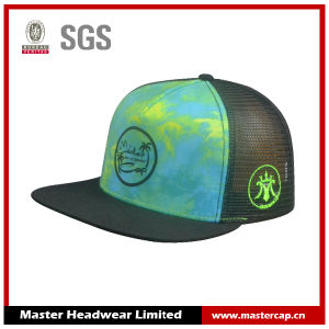 Mesh Back 3D Rubber Printing Flat Bill Trucker Cap with Hard Buckram pictures & photos