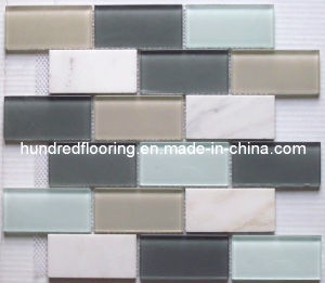Stone Mix Glass Mosaic Subway Tile (HGM264) pictures & photos