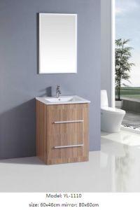 Bathroom Cabinet MDF with Veneer Ceramic Basin